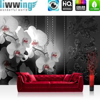 liwwing Vlies Fototapete 312x219cm PREMIUM PLUS Wand Foto Tapete Wand Bild Vliestapete - Ornamente Tapete Blume Abstrakt schwarz weiß - no. 1328