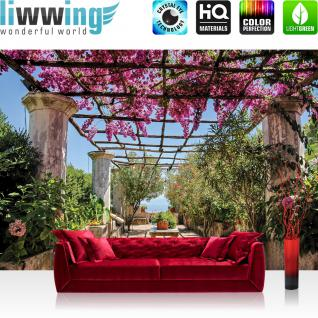 liwwing Vlies Fototapete 254x184cm PREMIUM PLUS Wand Foto Tapete Wand Bild Vliestapete - Landschaft Tapete Säulengang Garten mediterran bunt - no. 3290