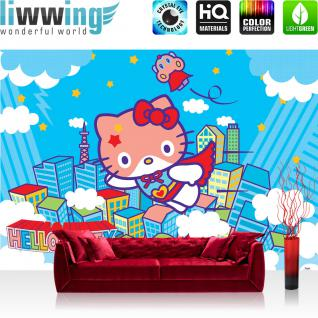liwwing Vlies Fototapete 200x140 cm PREMIUM PLUS Wand Foto Tapete Wand Bild Vliestapete - Mädchen Tapete Hello Kitty - Kindertapete Cartoon Katze Wolken Häuser Kinder blau - no. 1024