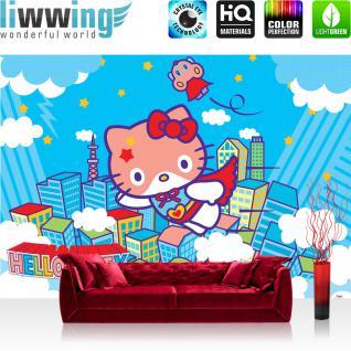 liwwing Vlies Fototapete 300x210 cm PREMIUM PLUS Wand Foto Tapete Wand Bild Vliestapete - Mädchen Tapete Hello Kitty - Kindertapete Cartoon Katze Wolken Häuser Kinder blau - no. 1024