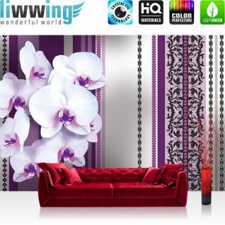 liwwing Vlies Fototapete 208x146cm PREMIUM PLUS Wand Foto Tapete Wand Bild Vliestapete - Ornamente Tapete Blume Abstrakt lila - no. 1326