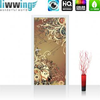 liwwing Vlies Türtapete 91x211 cm PREMIUM PLUS Tür Fototapete Türposter Türpanel Foto Tapete Bild - Ornament Blumen - no. 1103