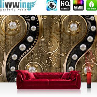 liwwing Vlies Fototapete 208x146cm PREMIUM PLUS Wand Foto Tapete Wand Bild Vliestapete - Illustrationen Tapete Perlen Holzwand Holz Blumen Metalloptik Formen gold - no. 1263