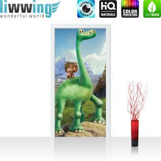 liwwing Vlies Türtapete 91x211 cm PREMIUM PLUS Tür Fototapete Türposter Türpanel Foto Tapete Bild - Pixar ARLO & SPOT Kindertapete Cartoon Dinosaurier - no. 923