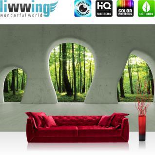 liwwing Vlies Fototapete 312x219cm PREMIUM PLUS Wand Foto Tapete Wand Bild Vliestapete - Architektur Tapete Wald Bäume Natur Sonne Baustil Bauform grün - no. 1259
