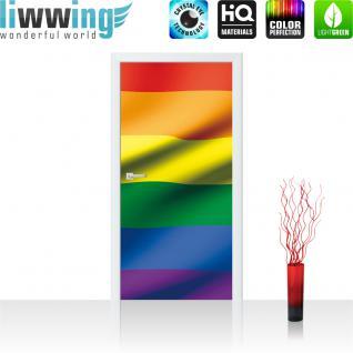 liwwing Vlies Türtapete 91x211 cm PREMIUM PLUS Tür Fototapete Türposter Türpanel Foto Tapete Bild - Regenbogen Flagge Fahne - no. 1041