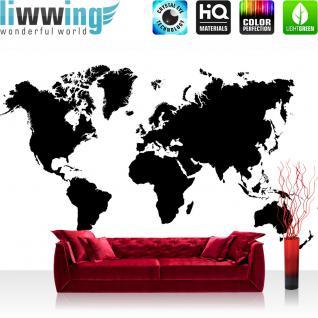 liwwing Vlies Fototapete 416x254cm PREMIUM PLUS Wand Foto Tapete Wand Bild Vliestapete - Welt Tapete Erde Kontinente schwarz weiß - no. 3034