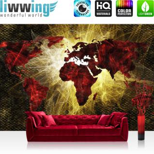 liwwing Vlies Fototapete 254x184cm PREMIUM PLUS Wand Foto Tapete Wand Bild Vliestapete - Welt Tapete Weltkarte Schraffur Graffiti rot - no. 3333