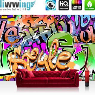 liwwing Vlies Fototapete 350x245 cm PREMIUM PLUS Wand Foto Tapete Wand Bild Vliestapete - Kinderzimmer Graffiti Streetart - no. 221