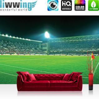 liwwing Vlies Fototapete 416x254cm PREMIUM PLUS Wand Foto Tapete Wand Bild Vliestapete - Sport Tapete Fußball Stadion Flutlicht Rasen Tribüne grün - no. 2525
