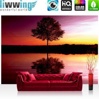 liwwing Vlies Fototapete 152.5x104cm PREMIUM PLUS Wand Foto Tapete Wand Bild Vliestapete - Sonnenuntergang Tapete Baum Wasser Natur rot - no. 1102