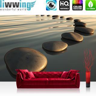 liwwing Fototapete 254x168 cm PREMIUM Wand Foto Tapete Wand Bild Papiertapete - Wellness Tapete Wasser Steine flache Steine Sonnenlicht grau - no. 2846