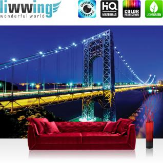 liwwing Vlies Fototapete 416x254cm PREMIUM PLUS Wand Foto Tapete Wand Bild Vliestapete - New York Tapete Stadt Nacht Brücke Manhattan New York blau - no. 1334