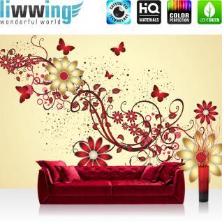 liwwing Vlies Fototapete 312x219cm PREMIUM PLUS Wand Foto Tapete Wand Bild Vliestapete - Illustrationen Tapete Vektorgrafik Blumen Abstrakt Illustration rot - no. 3084