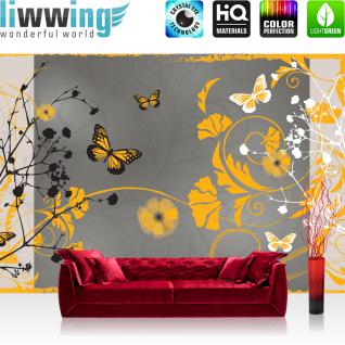 liwwing Vlies Fototapete 152.5x104cm PREMIUM PLUS Wand Foto Tapete Wand Bild Vliestapete - Kunst Tapete Design Blumen Schmetterlinge Rahmen grau - no. 3064