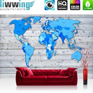 liwwing Fototapete 368x254cm PREMIUM Wand Foto Tapete Wand Bild Papiertapete - Welt Tapete Weltkarte politisch Holzwand blau - no. 3521