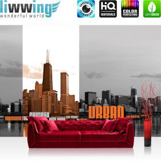 liwwing Fototapete 368x254 cm PREMIUM Wand Foto Tapete Wand Bild Papiertapete - USA Tapete Skyline USA Amerika Wasser Stadt schwarz weiß - no. 2864