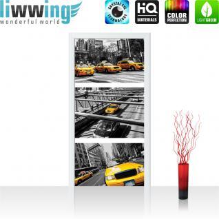 liwwing Vlies Türtapete 91x211 cm PREMIUM PLUS Tür Fototapete Türposter Türpanel Foto Tapete Bild - New York Brücke Taxi Haus - no. 849