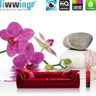 liwwing Vlies Fototapete 312x219cm PREMIUM PLUS Wand Foto Tapete Wand Bild Vliestapete - Wellness Tapete Orchidee Wasser Steine Wellness pink - no. 1306