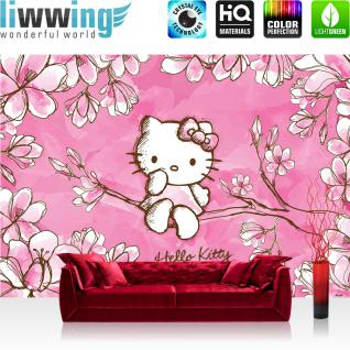 liwwing Fototapete 368x254 cm PREMIUM Wand Foto Tapete Wand Bild Papiertapete - Mädchen Tapete Hello Kitty - Kindertapete Cartoon Katze Blumen Baum Kinder pink - no. 1023