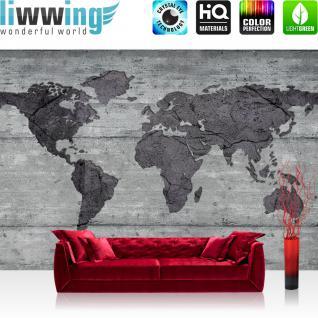 liwwing Vlies Fototapete 312x219cm PREMIUM PLUS Wand Foto Tapete Wand Bild Vliestapete - Geographie Tapete Länder Städte Kontinente Welt Kunst Malerei grau - no. 1646