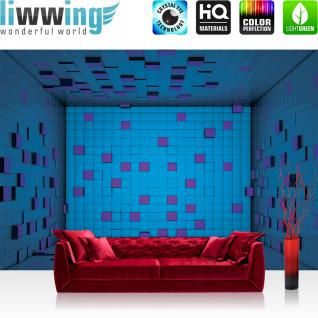 liwwing Vlies Fototapete 312x219cm PREMIUM PLUS Wand Foto Tapete Wand Bild Vliestapete - 3D Tapete Würfel Raum Kunst Kacheln Fliesen Spiegelung 3D Optik blau - no. 2004