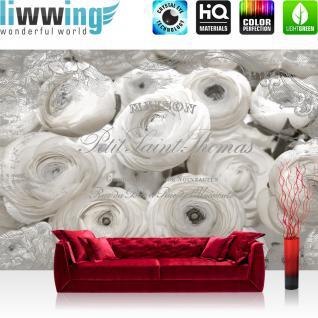 liwwing Vlies Fototapete 416x254cm PREMIUM PLUS Wand Foto Tapete Wand Bild Vliestapete - Ornamente Tapete Blume Blüten Schriftzug Frankreich weiß - no. 1366