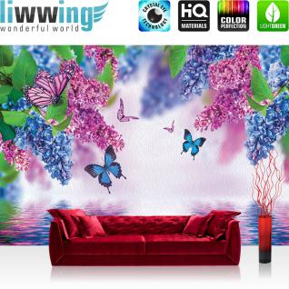 liwwing Vlies Fototapete 400x280 cm PREMIUM PLUS Wand Foto Tapete Wand Bild Vliestapete - Blumen Tapete Flieder Schmetterling Wasser lila - no. 418