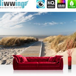 liwwing Vlies Fototapete 400x280 cm PREMIUM PLUS Wand Foto Tapete Wand Bild Vliestapete - NORTH SEA DUNES - Strand Meer Nordsee Ostsee Beach Wasser Blau Himmel Sonne Sommer - no. 038