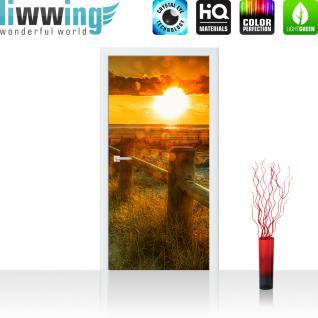 liwwing Türtapete selbstklebend 100x211 cm PREMIUM PLUS Tür Fototapete Türposter Türpanel Foto Tapete Bild - SUNSET BEACH - Sonnenaufgang Strand Meer Felsen Sunset - no. 064