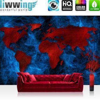 liwwing Vlies Fototapete 312x219cm PREMIUM PLUS Wand Foto Tapete Wand Bild Vliestapete - Welt Tapete Weltkarte schraffiert Graffiti rot - no. 3330