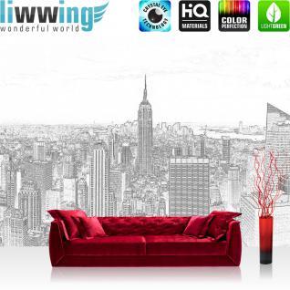 liwwing Vlies Fototapete 416x254cm PREMIUM PLUS Wand Foto Tapete Wand Bild Vliestapete - New York Tapete Manhattan Hudson Empire State Building schwarz - weiß - no. 3458