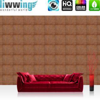 liwwing Vlies Fototapete 312x219cm PREMIUM PLUS Wand Foto Tapete Wand Bild Vliestapete - Kunst Tapete Abstrakt Design Kacheln Metall Nieten braun - no. 2981