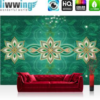 liwwing Vlies Fototapete 312x219cm PREMIUM PLUS Wand Foto Tapete Wand Bild Vliestapete - Ornamente Tapete Blume Abstrakt türkis - no. 1241