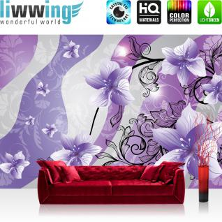 liwwing Fototapete 254x168 cm PREMIUM Wand Foto Tapete Wand Bild Papiertapete - Ornamente Tapete Blume Abstrakt Illustration lila - no. 1320