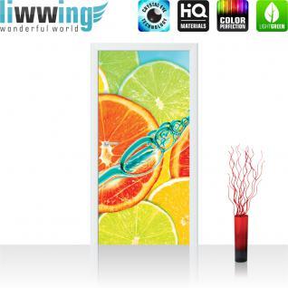 liwwing Türtapete selbstklebend 91x211 cm PREMIUM PLUS Tür Fototapete Türposter Türpanel Foto Tapete Bild - Limetten Orange Zitrone Waaser - no. 584