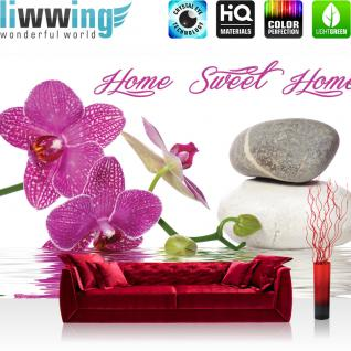 liwwing Vlies Fototapete 312x219cm PREMIUM PLUS Wand Foto Tapete Wand Bild Vliestapete - Wellness Tapete Orchideen Wellness Steine Wasser pink - no. 3164