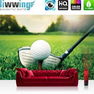 liwwing Vlies Fototapete 312x219cm PREMIUM PLUS Wand Foto Tapete Wand Bild Vliestapete - Sport Tapete Golf Golfschläger Rasen Sport Golfball grün - no. 2901