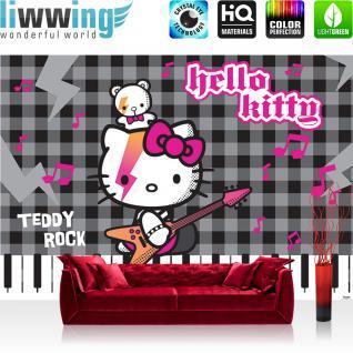 liwwing Vlies Fototapete 300x210 cm PREMIUM PLUS Wand Foto Tapete Wand Bild Vliestapete - Mädchen Tapete Hello Kitty - Kindertapete Cartoon Katze Gitarre Keyboard Kinder grau - no. 1026