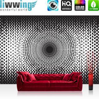 liwwing Vlies Fototapete 300x210 cm PREMIUM PLUS Wand Foto Tapete Wand Bild Vliestapete - Illustrationen Tapete Abstrakt Ornamente Punkte Kreis Muster schwarz - weiß - no. 403