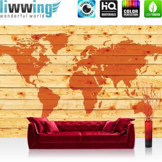liwwing Vlies Fototapete 416x254cm PREMIUM PLUS Wand Foto Tapete Wand Bild Vliestapete - Holz Tapete Holzoptik Welt Erde Kontinente orange - no. 2213