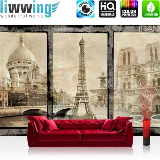 liwwing Fototapete 254x168 cm PREMIUM Wand Foto Tapete Wand Bild Papiertapete - Frankreich Tapete Paris Sehenswürdigkeiten Eifelturm Vintage sepia - no. 2988