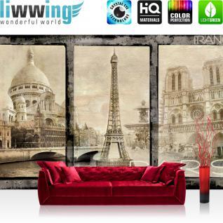 liwwing Vlies Fototapete 416x254cm PREMIUM PLUS Wand Foto Tapete Wand Bild Vliestapete - Frankreich Tapete Paris Sehenswürdigkeiten Eifelturm Vintage sepia - no. 2988