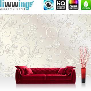 liwwing Vlies Fototapete 350x245 cm PREMIUM PLUS Wand Foto Tapete Wand Bild Vliestapete - Ornamente Tapete Abstrakt Blumen Blüten Schnörkel Ranke weiß - no. 546