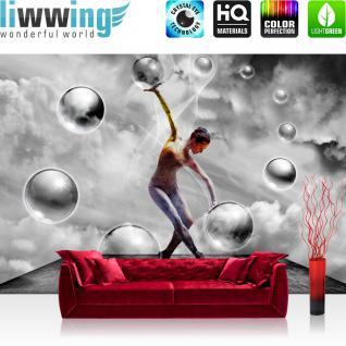 liwwing Vlies Fototapete 312x219cm PREMIUM PLUS Wand Foto Tapete Wand Bild Vliestapete - Sport Tapete Bubble Frau Ballett Himmel Tanzen schwarz weiß - no. 1516