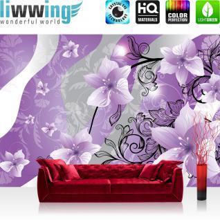 liwwing Vlies Fototapete 208x146cm PREMIUM PLUS Wand Foto Tapete Wand Bild Vliestapete - Ornamente Tapete Blume Abstrakt lila - no. 1314