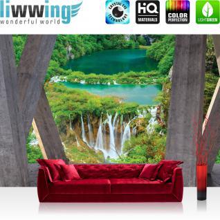 liwwing Vlies Fototapete 208x146cm PREMIUM PLUS Wand Foto Tapete Wand Bild Vliestapete - Architektur Tapete Terrasse Balkon Wasserfall Fluss Bäume grau - no. 2931