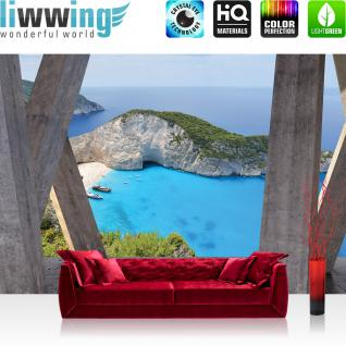 liwwing Vlies Fototapete 416x254cm PREMIUM PLUS Wand Foto Tapete Wand Bild Vliestapete - Architektur Tapete Terrasse Balkon Bucht Meer Strand Klippen grau - no. 2930