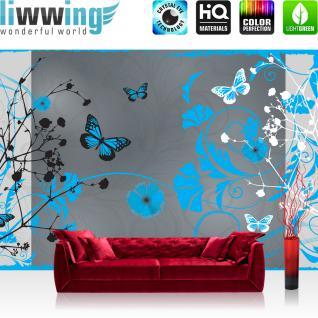 liwwing Vlies Fototapete 312x219cm PREMIUM PLUS Wand Foto Tapete Wand Bild Vliestapete - Kunst Tapete Schmetterlinge Blumen Blüten Blätter Schlingen blau - no. 2194