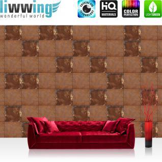 liwwing Vlies Fototapete 312x219cm PREMIUM PLUS Wand Foto Tapete Wand Bild Vliestapete - Kunst Tapete Abstrakt Design Kacheln Metall Nieten braun - no. 2339